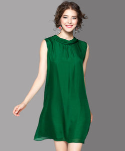 Jasmine Silk Sleeveless One Piece Dress (Non-Returnable)