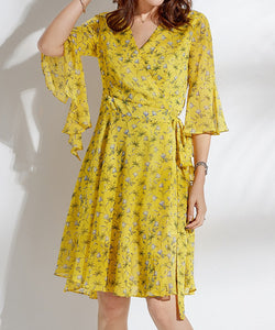 Lyla V Neck Flare Sleeve Chiffon Dress (Non-Returnable)