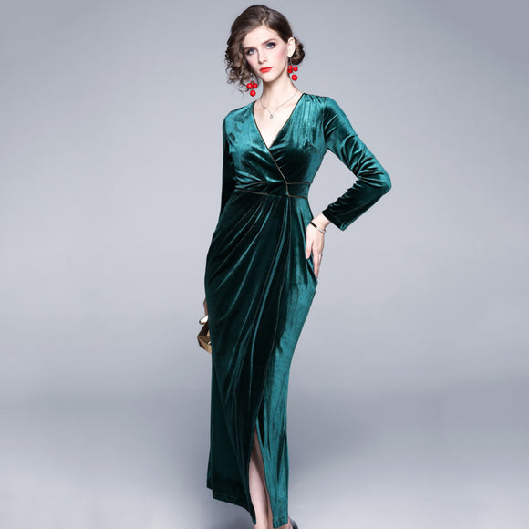 Valentina V Neck Velvet Dress