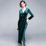 Valentina V Neck Velvet Dress (Non-Returnable)