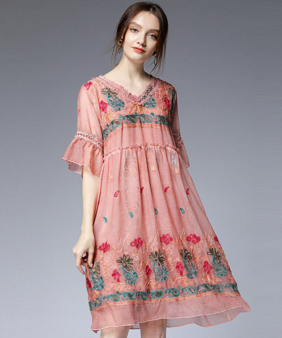 Ariel Chiffon Embroidery Dress