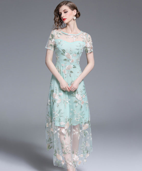 Carey Embroidery Mesh Dress (Non-Returnable)