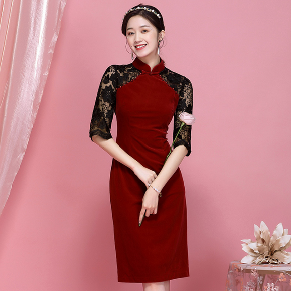 Joan Cheongsam Lace Dress