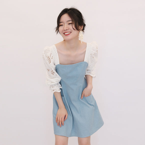Kaisley Denim Lace Dress