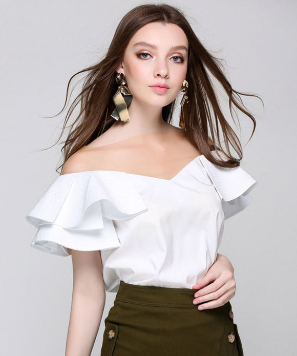 Samantha Mesh V Neck Ruffle Top (Non-Returnable)