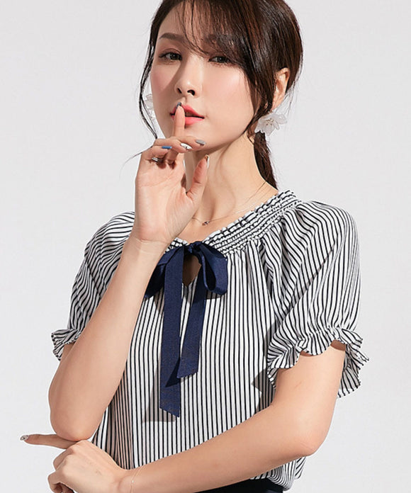 Victoria Stripe Chiffon Top (Non-Returnable)