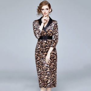 Diana Leopard Velvet Dress