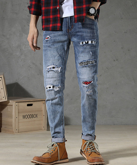 Stephen Ripped Patched Jeans (Non-Returnable)