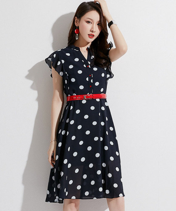 Judy Dot Chiffon Dress (Non-Returnable)