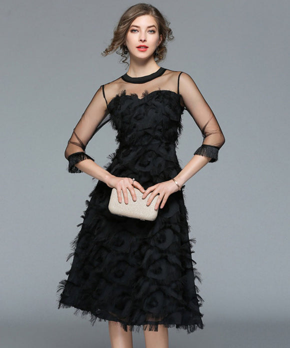 Abella Mesh Feather Dress (Non-Returnable)