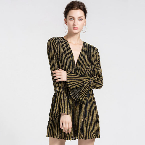 Kara Striped V Neck Rompers