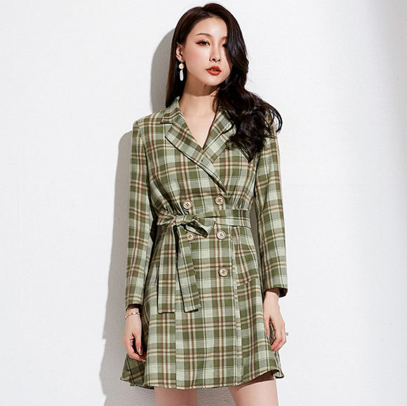 Madeline Checked Coat Dress
