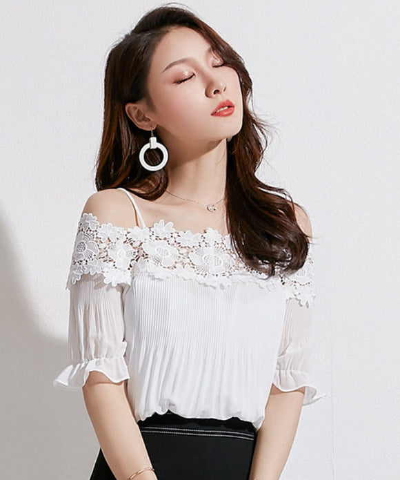 Addison Off Shoulder Chiffon Top