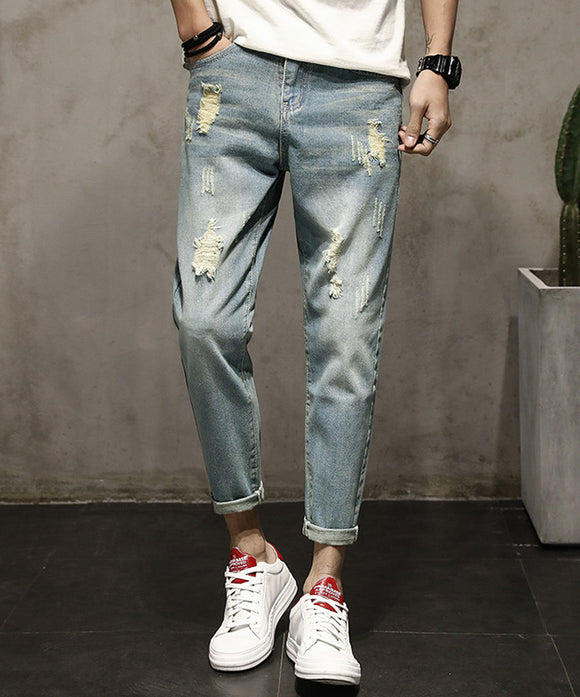 Harvard Ripped Cropped Jeans (Non-Returnable)