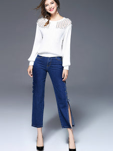 Cassandra Side Slit Jeans (Non-Returnable)