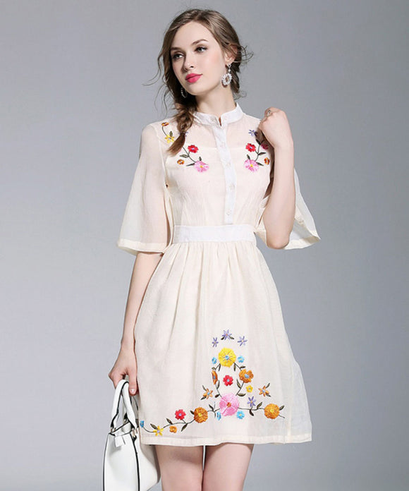 Maria Floral Embroidery Dress (Non- Returnable)