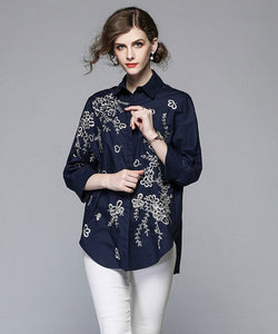 Canary Floral Embroidery Oversize Shirt Top (Non-Returnable)