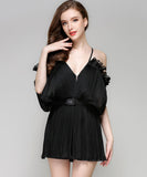 Elaina V Neck Chiffon Romper (Non-Returnable)