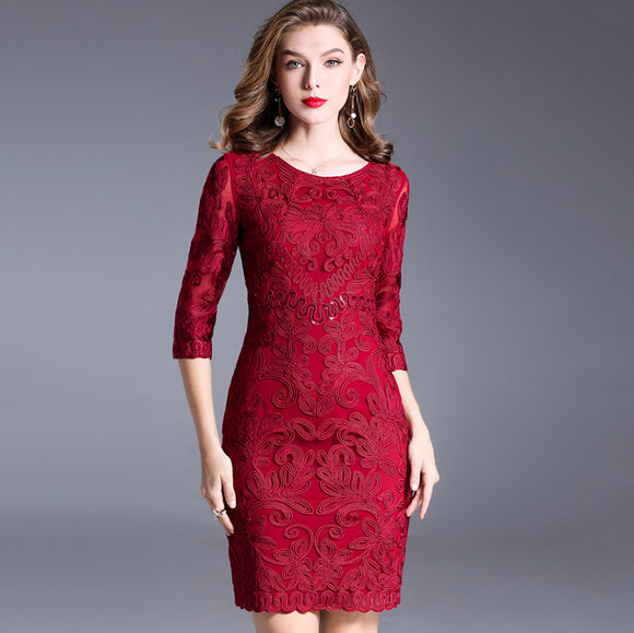 Esther Round Neck Crochet Dress
