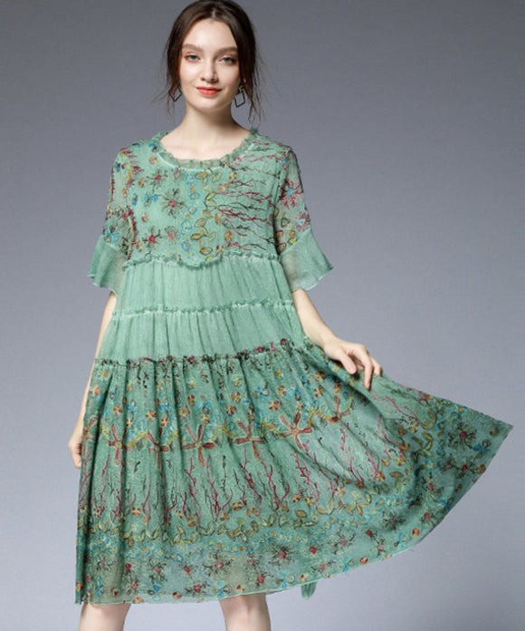 Emily Chiffon Embroidery Dress