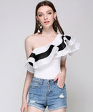 Mabel One Shoulder Ruffle Bodysuit
