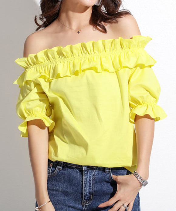 Amoret Off Shoulder Frill Top (Non-Returnable)