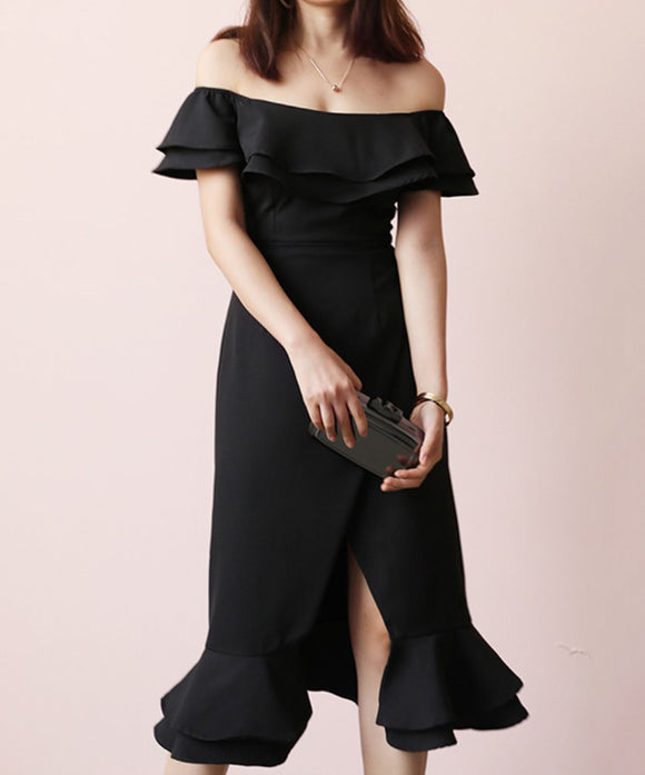 Heather Off Shoulder Ruffle Dress (Non-Returnable)