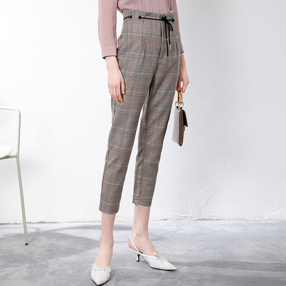 Rina Checkered High Waist Pants