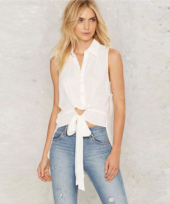 Aideen Sleeveless Waist Bow Top (Non-Returnable)