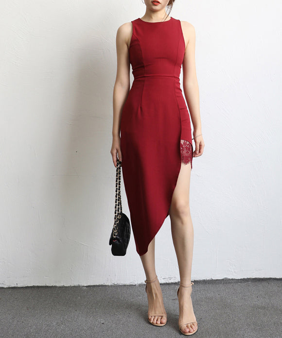 Diana Side Slit Midi Dress (Non-Returnable)