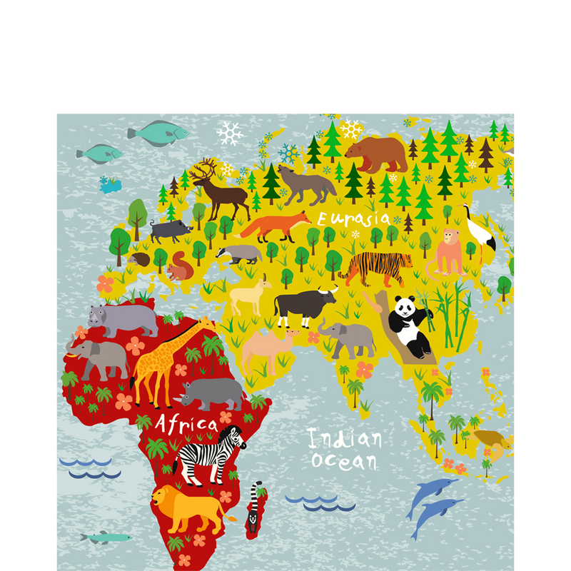 Wooden Europe/Africa Map square coaster - Sketch Your Line