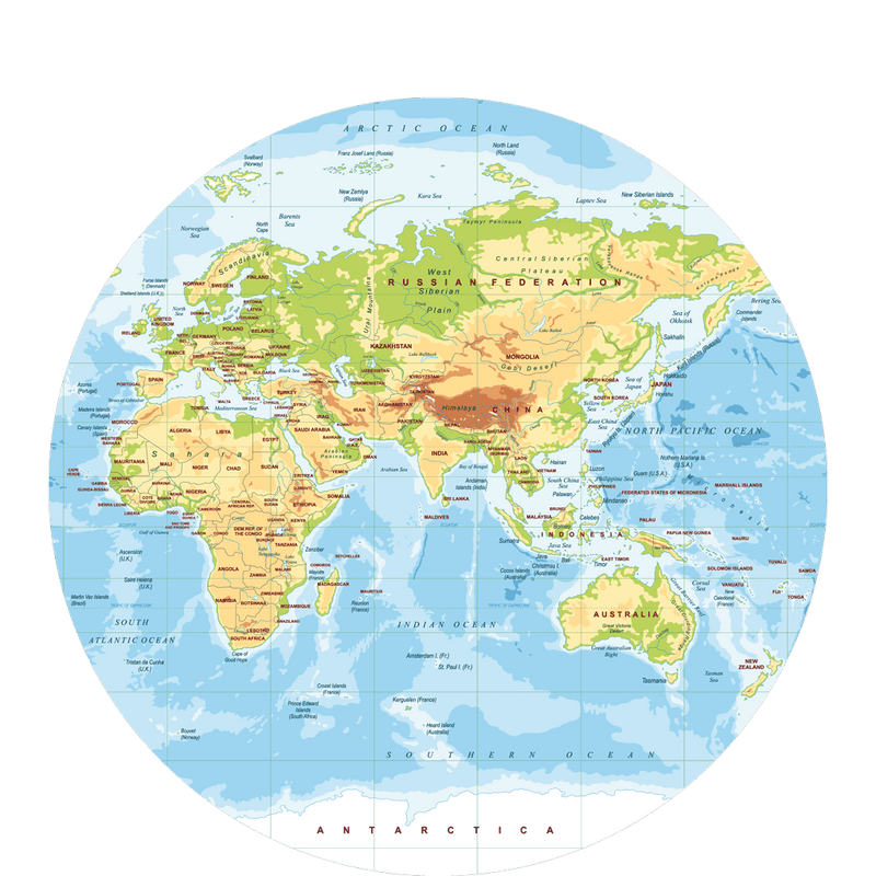 32 Cm Polypropylyn Physical World Map Round Placemat F 1 Sketch