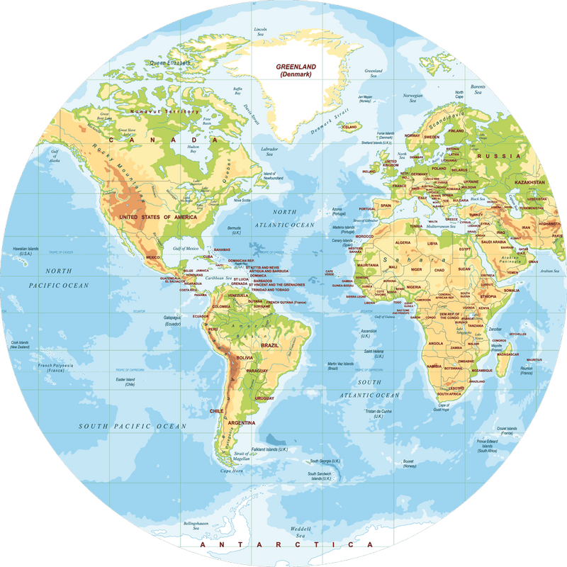 40 Cm Wooden Physical World Map Round Placemat F 2 Sketch Your Line