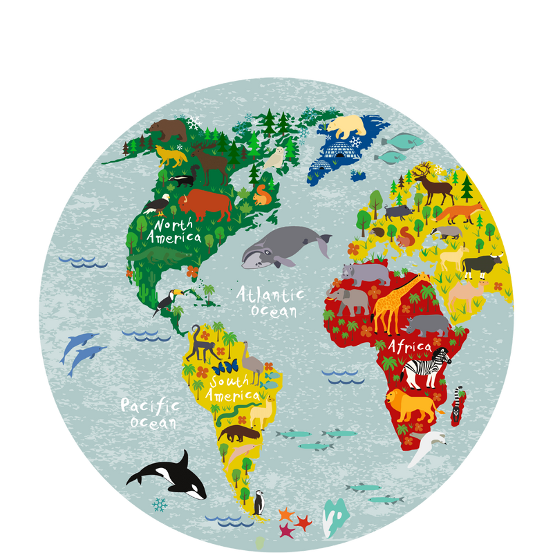 World map round picture 30 cm Sketch Your Line