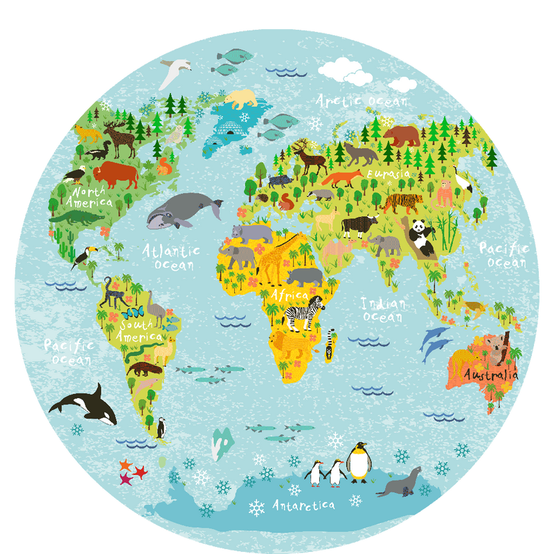World map round picture 40 cm Sketch Your Line