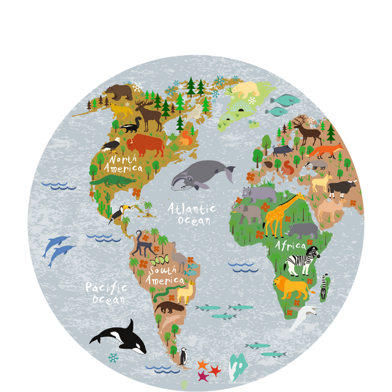 World map round placemat (30 cm.) - Sketch Your Line