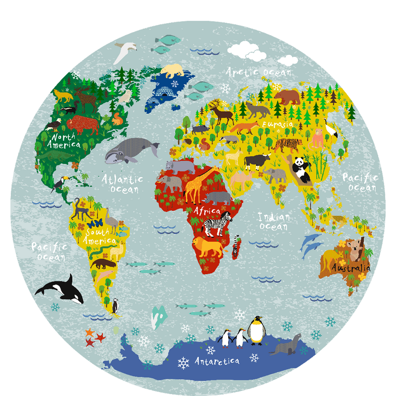 World map round placemat (40 cm.) - Sketch Your Line