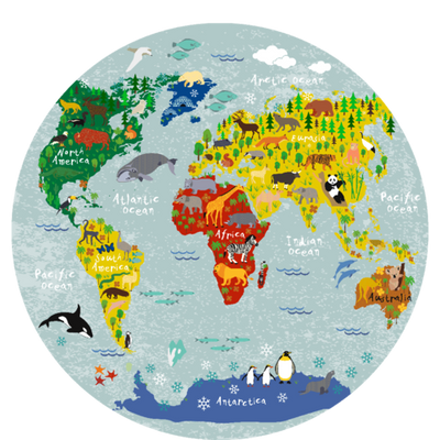 Polypropylyn children World map round placemat B Sketch Your Line