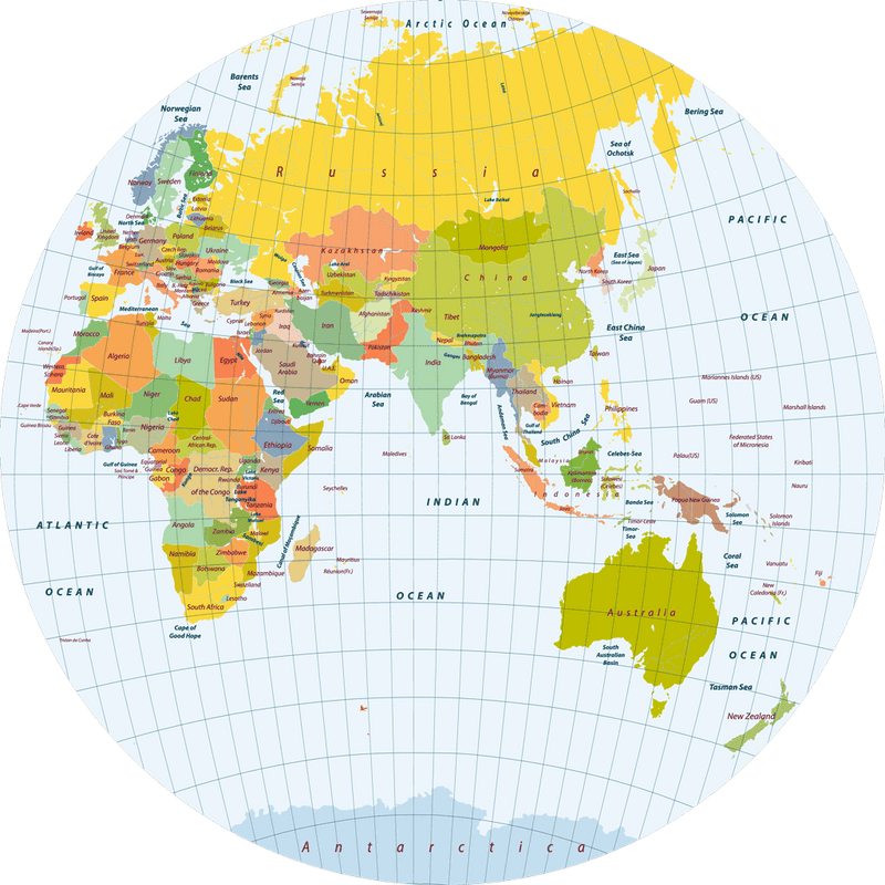 Polypropyln World Map round placemat C-1 - Sketch Your Line