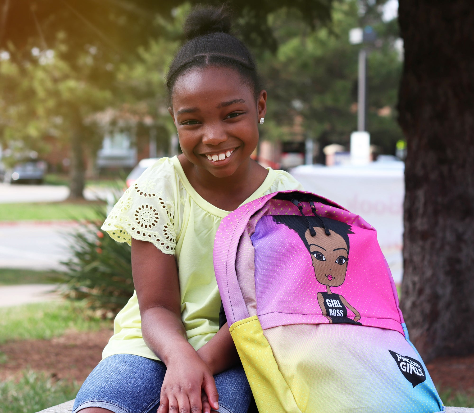 African American Backpack, Rainbow colors, GIRL BOSS,  Pincurl Girls