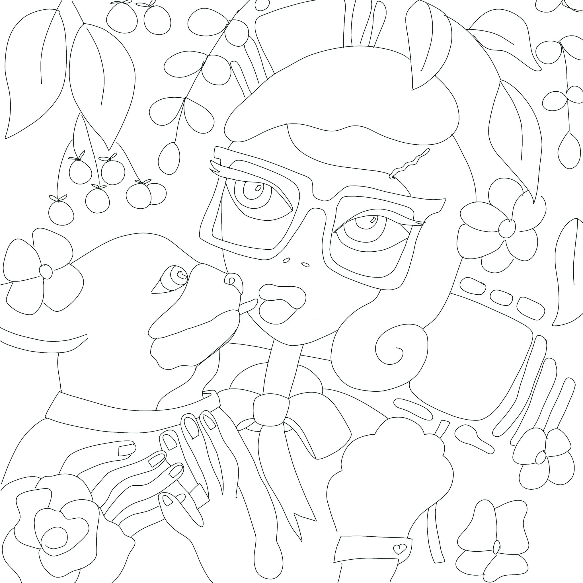 Dog Kissing Girl Digital Coloring Page for ProCreate