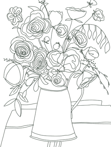 Flowers in a Watering Can Digital Coloring Page for ProCreate