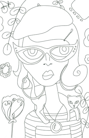 Parisian Girl with Cat Digital Coloring Page for ProCreate