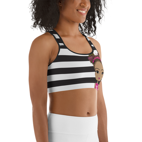 Black Girl Power Sports Bra by Pincurl Girls