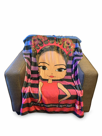 Cozy Travel Lightweight African American Pincurl Girls Affirmational Throw Blanket