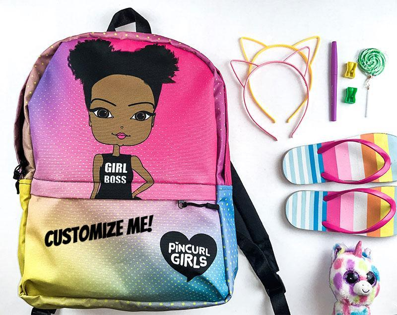 Custom African American Girls Backpack Pincurl Girls