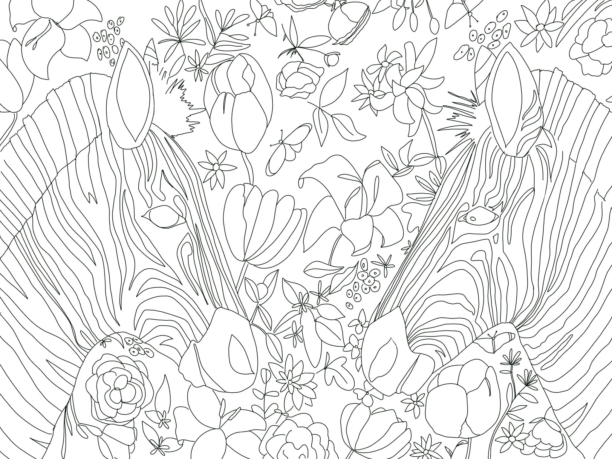 Betsey Johnson's Safari Digital Coloring Page for ProCreate