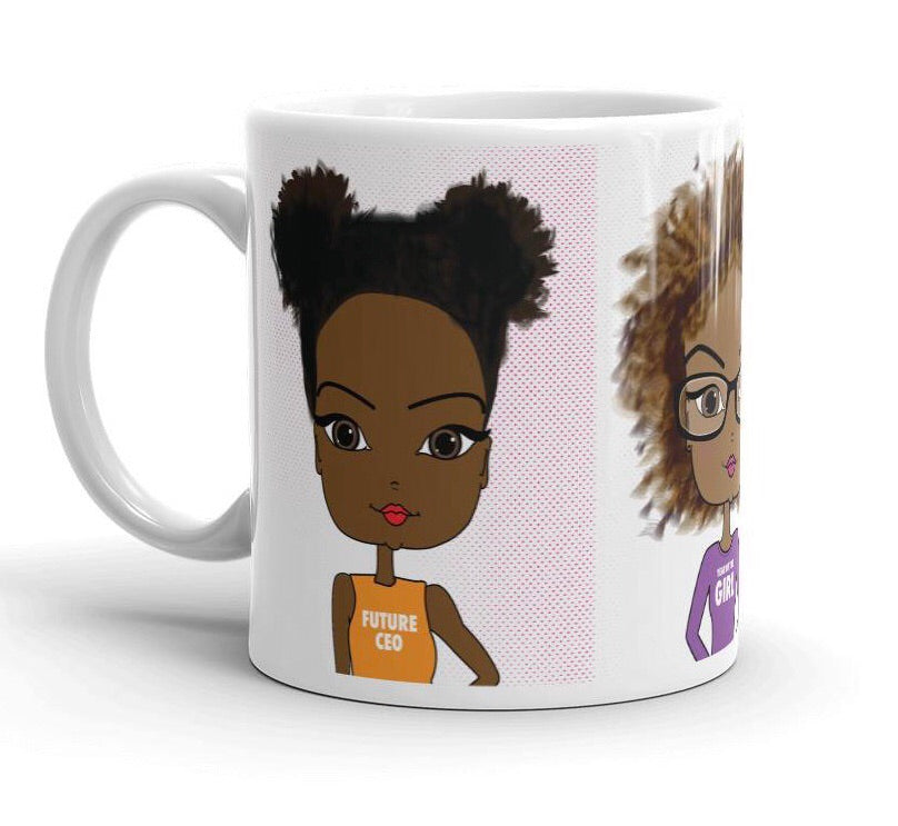 Coffee Mug with Cute Black Girl Illustrations