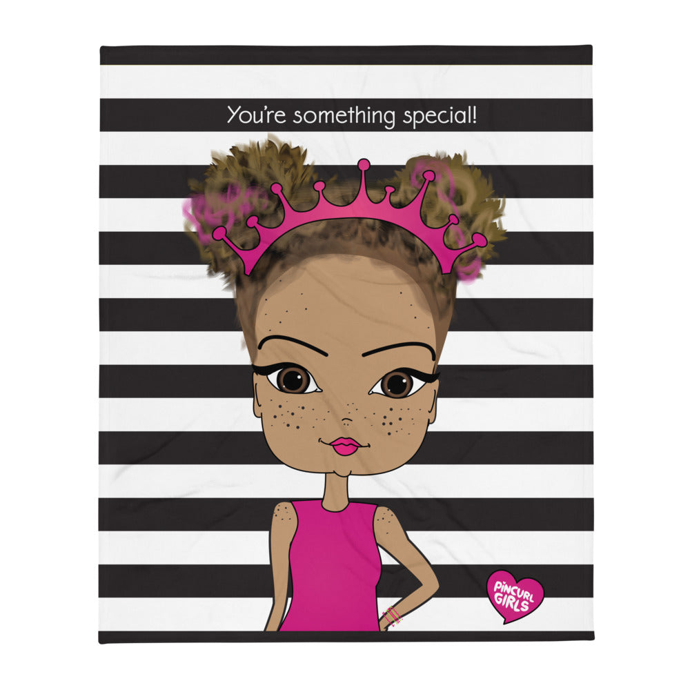 Cozy Snuggle Throw Blanket with African American Girl Illustration - Pincurl Girls - Inspiring Girls to Love Themselves