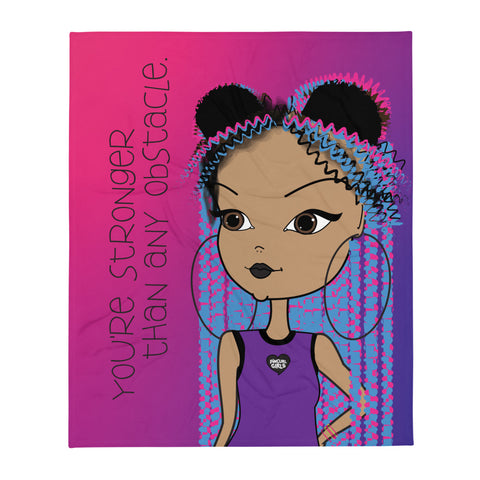Positive Affirmation African American Girl Fuzzy Throw Blanket